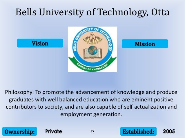 Vision Mission Ownership: Established:99 Philosophy: To promote the advancement of knowledge and produce graduates with we...