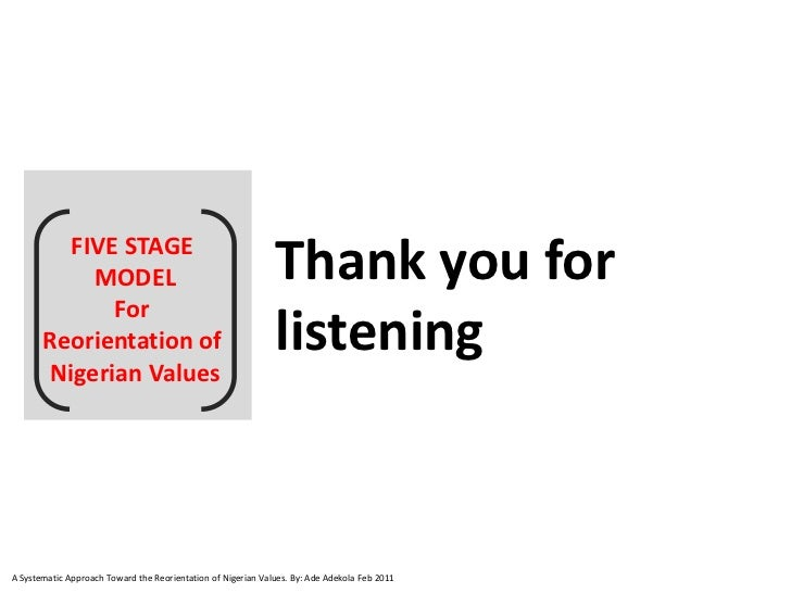 FIVE STAGE            MODEL                                             Thank you for              For       Reorientation...