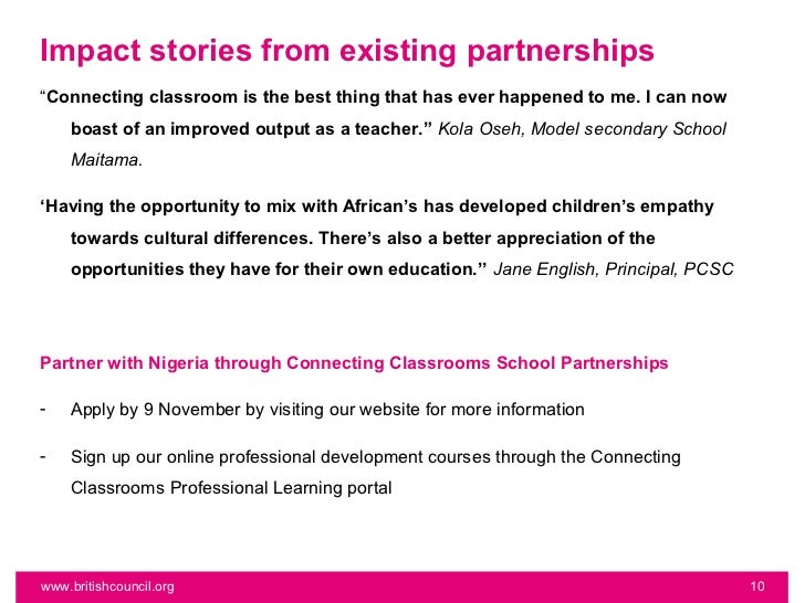 """Impact stories from existing partnerships""""Connecting classroom is the best thing that has ever happened to me. I can now  ..."""