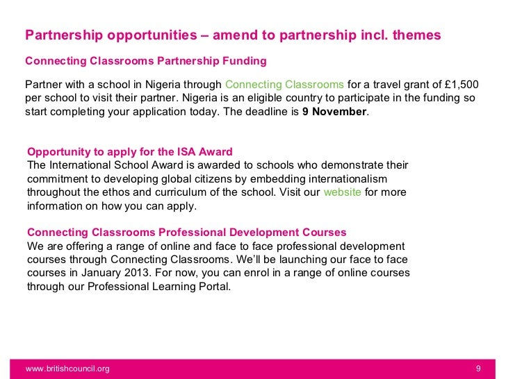 Partnership opportunities – amend to partnership incl. themesConnecting Classrooms Partnership FundingPartner with a schoo...