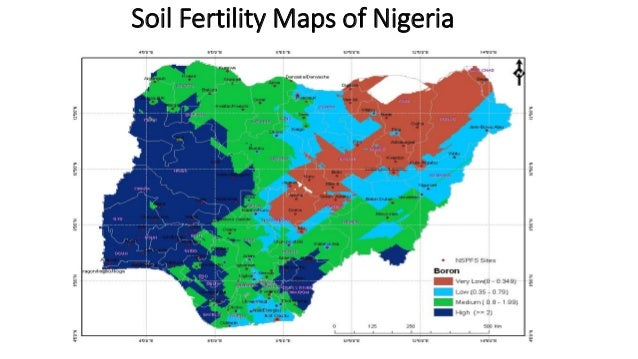 Soil Fertility Maps of Nigeria TOTAL N % Map of Nigeria Showing different Total N fertility classes for the topsoil. Natio...
