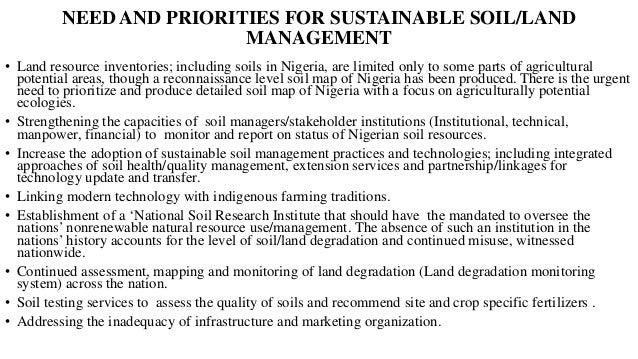 Institutional Setup for Soil/Land Management in Nigeria Federal Government of Nigeria (FGN) • Federal Ministry of Agricult...