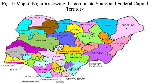 Fig. 1: Map of Nigeria showing the composite States and Federal Capital Territory