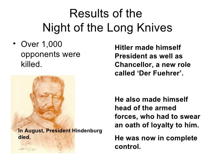an analysis of the night of long knives Never shall i forget that night, the first night in camp, which has turned my life into one long night, seven times cursed and seven times sealed never shall i forget that smoke never shall i forget the little faces of the children, whose bodies i saw turned into wreaths of smoke beneath a silent .