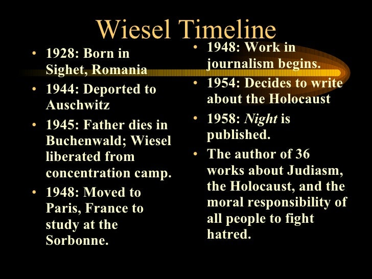 an analysis of night biography of holocaust survivor elie wiesel Find out for yourself what life was like being sent to a nazi concentration camp video based on night by elie wiesel, a holocaust survivor video colab with.