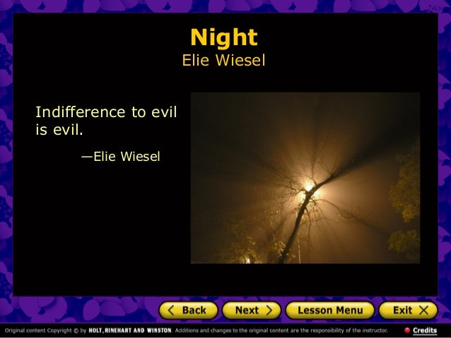 an introduction to elie wiesel Published in english in 1960, elie wiesel's night is an autobiographical account of his experience in the nazi concentration camps of auschwitz and buchenwald from 1944-1945 wiesel was born in sighet, romania in 1928, and raised in the jewish faith.