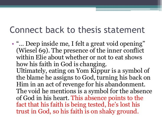 night by elie weisel and thesis statement Elie wiesel night thesis writing service to assist in custom writing a master elie wiesel night dissertation for a university thesis course.