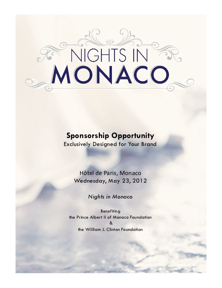 Sponsorship OpportunityExclusively Designed for Your Brand     Hôtel	  de	  Paris,	  Monaco	      Wednesday, May 23, 2012 ...