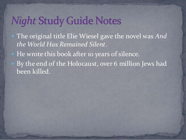 an analysis of night by elie He only says the previous night which then references the night night by elie wiesel chapter 6 analysis of from whom the bell tolls.