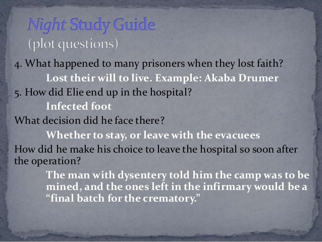night by elie wiesel study guide answers chapter 1 From a general summary to chapter summaries to explanations of famous quotes, the sparknotes night study guide has everything you need to ace quizzes, tests, and essays.