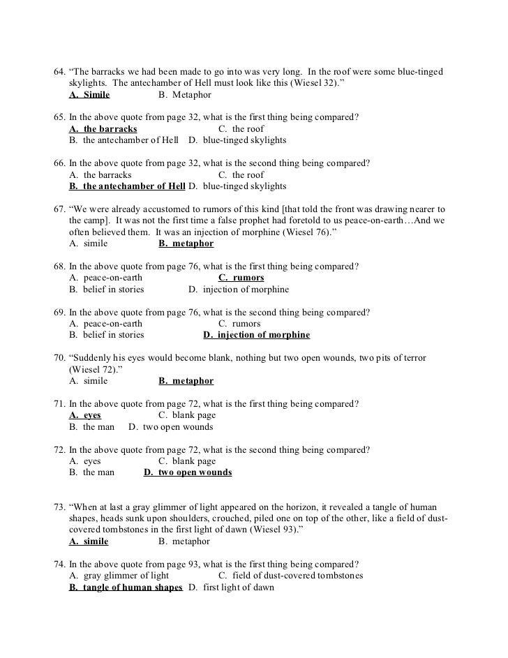 Printable Worksheets night elie wiesel worksheets : Night test (1)
