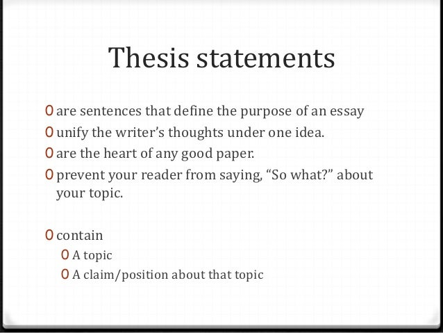 Constructing a proper thesis statement