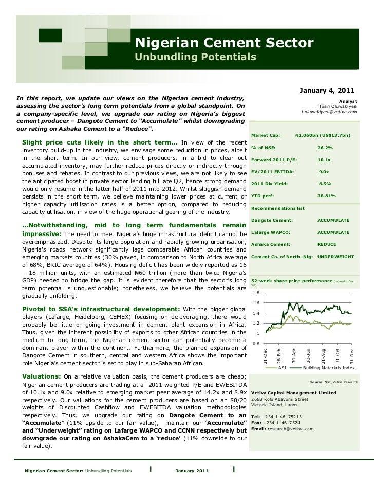 Nigerian Cement Sector                                                  Unbundling Potentials                             ...