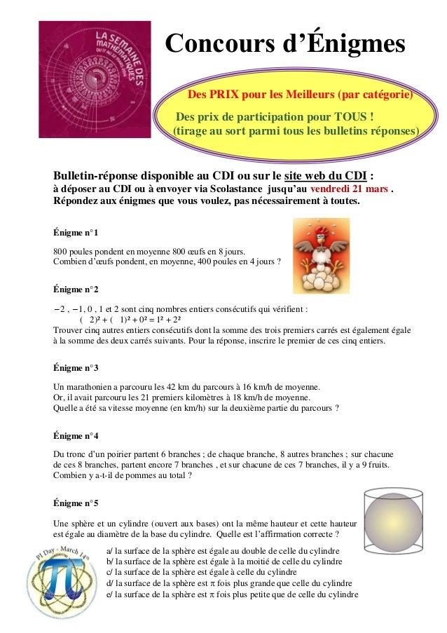 Concours d'Énigmes Des PRIX pour les Meilleurs (par catégorie) Des prix de participation pour TOUS ! (tirage au sort parmi...