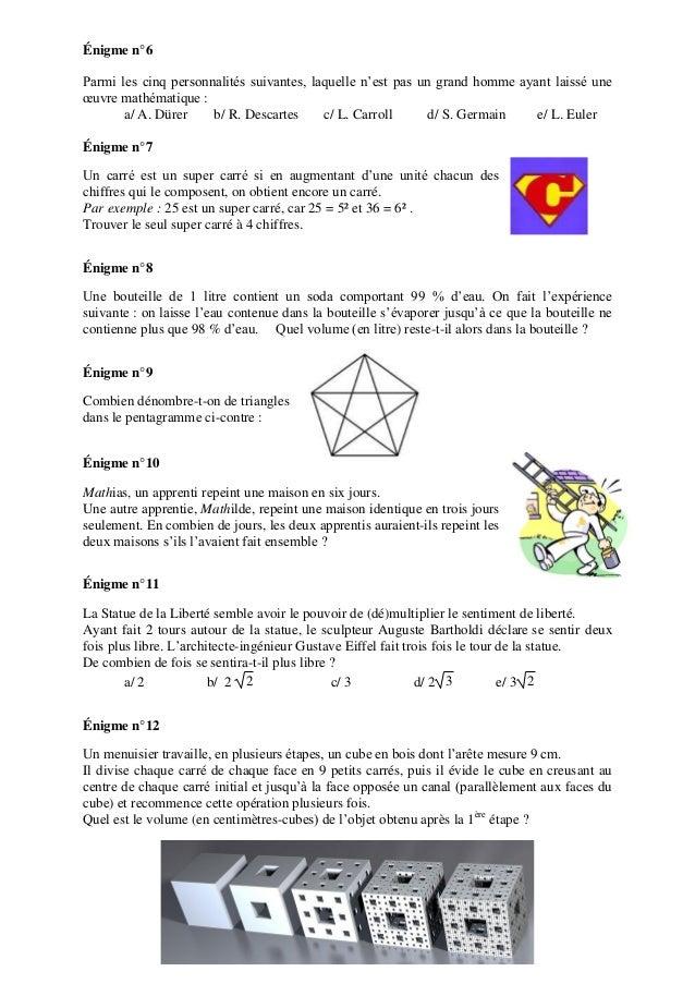 Énigme n°6 Parmi les cinq personnalités suivantes, laquelle n'est pas un grand homme ayant laissé une œuvre mathématique :...