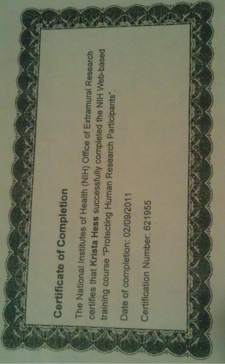 NIH certification