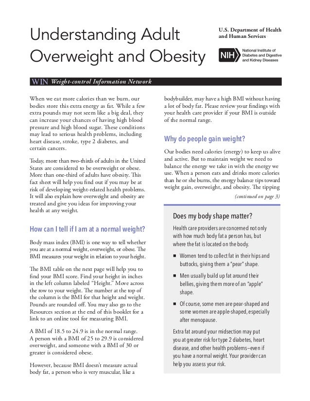 Understanding AdultOverweight and ObesityU.S. Department of Healthand Human ServicesWIN Weight-control Information Network...