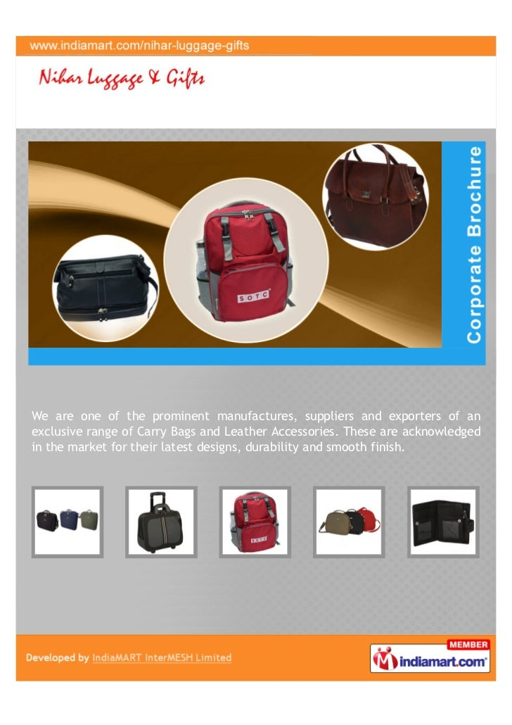 We are one of the prominent manufactures, suppliers and exporters of anexclusive range of Carry Bags and Leather Accessori...