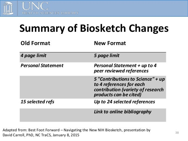 November      The New NIH Biosketch  Outline     Formats Templates     Alignment of Application Format with Scored Review Criteria