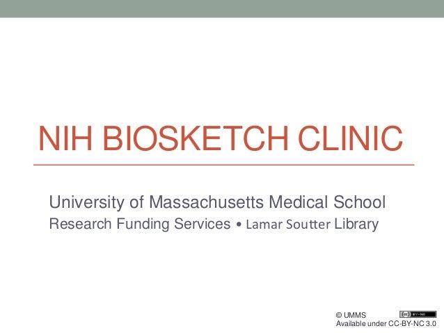 Nih Biosketch Clinic