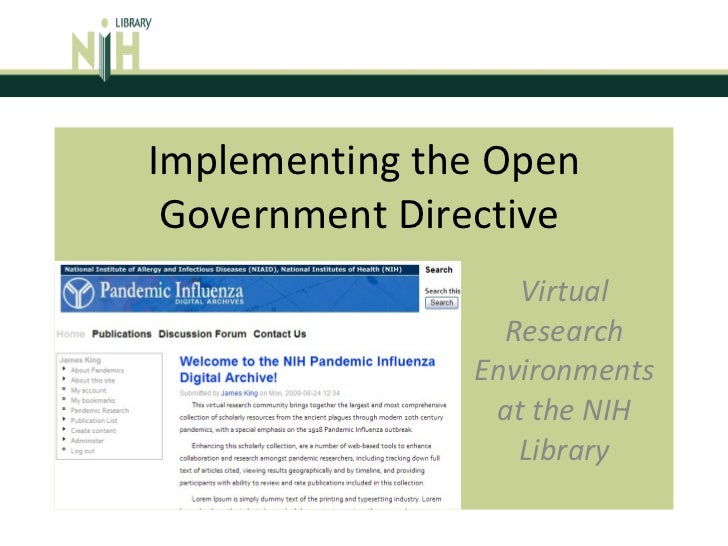 Implementing the Open Government Directive  Virtual Research Environments at the NIH Library