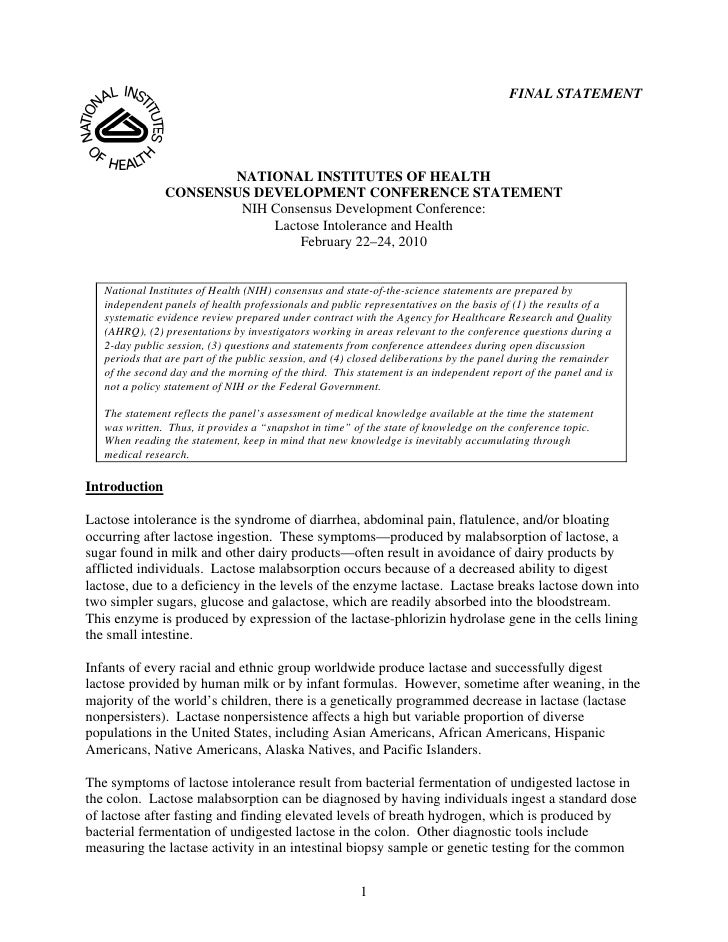 FINAL STATEMENT                           NATIONAL INSTITUTES OF HEALTH                CONSENSUS DEVELOPMENT CONFERENCE ST...