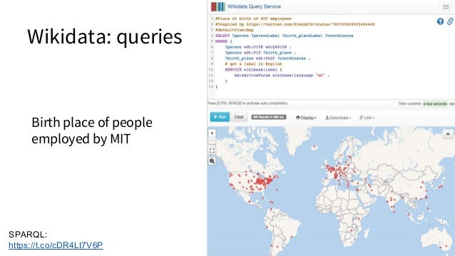 SPARQL: http://tinyurl.com/h2lqv9y Authors with a known location and ORCID Wikidata: queries