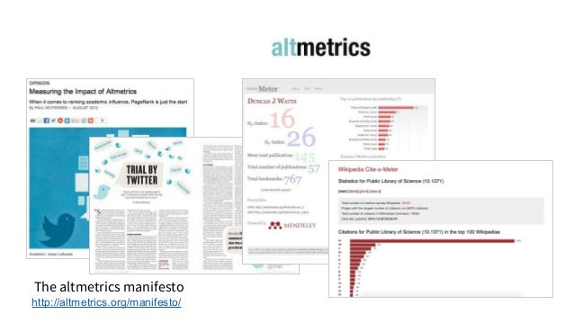 The altmetrics manifesto http://altmetrics.org/manifesto/