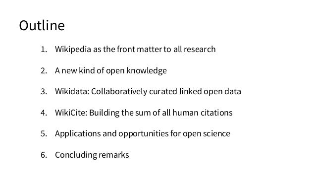 1. Wikipedia as the front matter to all research