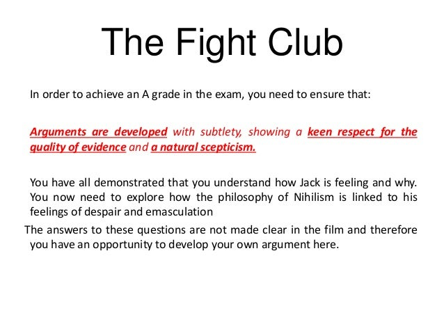 fight club emasculation Tyler had started fight clubs all around the country fight club is the metaphor for a return to a primal world of male violence with its alphadog brutality.
