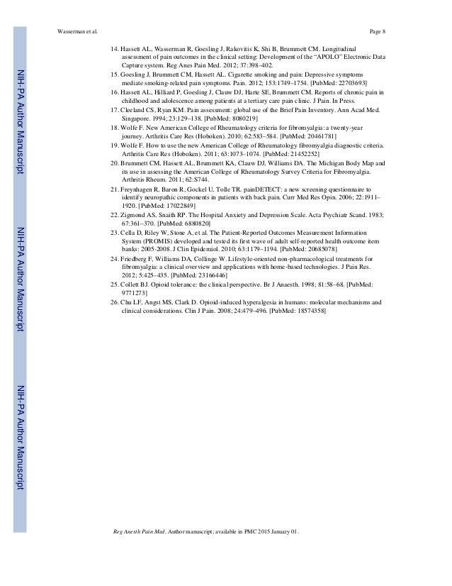 14. Hassett AL, Wasserman R, Goesling J, Rakovitis K, Shi B, Brummett CM. Longitudinal assessment of pain outcomes in the ...