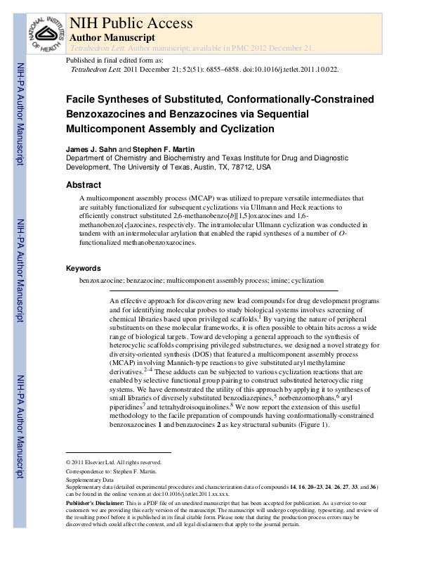 Facile Syntheses of Substituted, Conformationally-ConstrainedBenzoxazocines and Benzazocines via SequentialMulticomponent ...