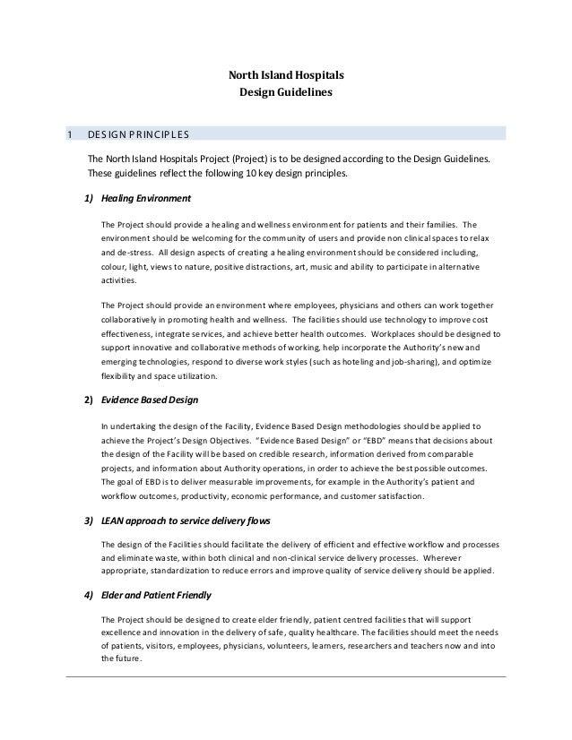 North Island Hospitals                                              Design Guidelines1   DE S IG N P R INC IP L E S    The...