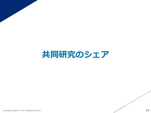 共同研究のシェア 24Copyright(c) NEXT Co., Ltd. All Rights Reserved.