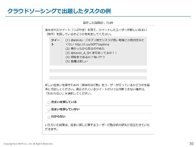 30Copyright(c) NEXT Co., Ltd. All Rights Reserved. クラウドソーシングで出題したタスクの例例