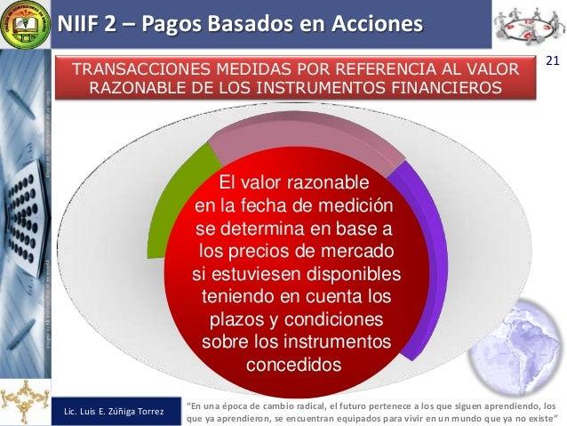 """NIIF 2 – Pagos Basados en Acciones Lic. Luis E. Zúñiga Torrez """"En una época de cambio radical, el futuro pertenece a los q..."""