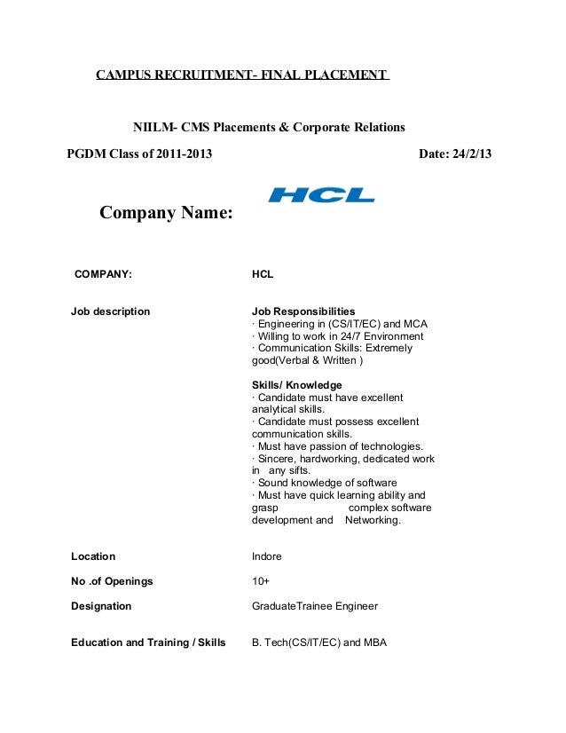 CAMPUS RECRUITMENT- FINAL PLACEMENTNIILM- CMS Placements & Corporate RelationsPGDM Class of 2011-2013 Date: 24/2/13Company...