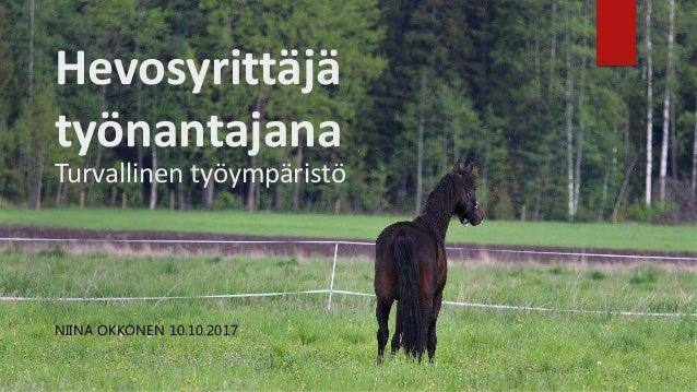 Hevosyrittäjä työnantajana Turvallinen työympäristö NIINA OKKONEN 10.10.2017