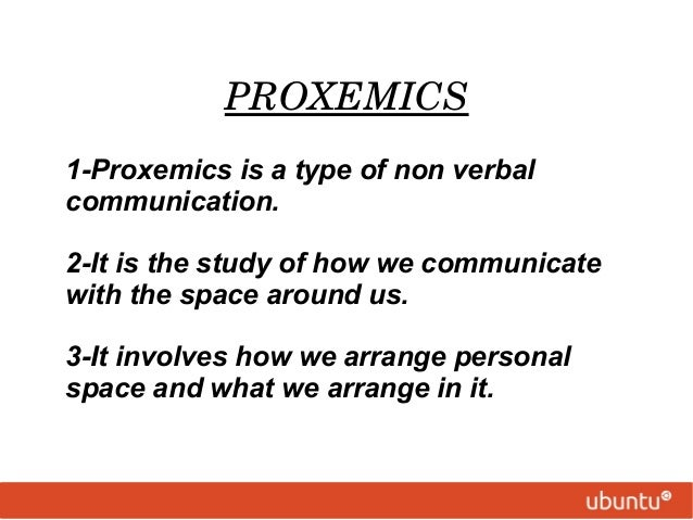 chronemics and proxemics Proxemics – use of space • haptics – touching behavior • vocalics [paravocalics   chronemics – use of time • olfactics – use of smell • gustorics – use of taste.
