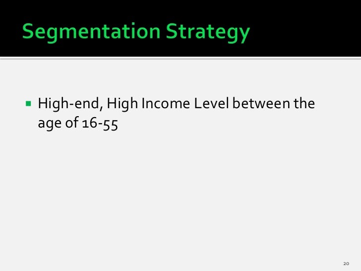    High-end, High Income Level between the    age of 16-55                                              20