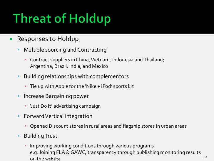    Responses to Holdup     Multiple sourcing and Contracting      ▪ Contract suppliers in China, Vietnam, Indonesia and ...