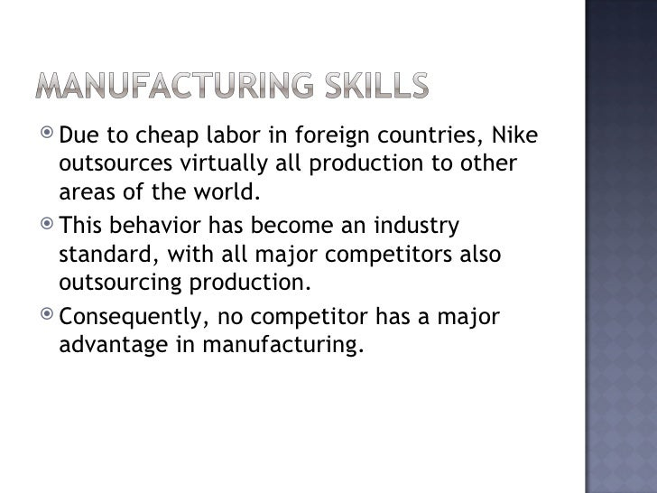 nike competitive analysis The aim of this investigation is to find out how nike has achieved it's competitive advantage, and to research into the company, to gain my own conclusion, and opinion of what i expect their future to hold.