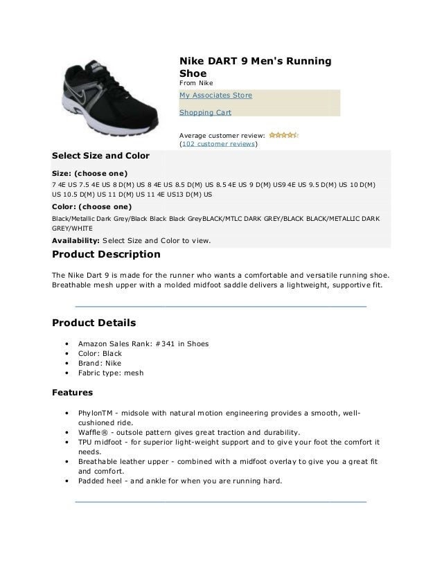 Nike dart 9 men's running shoe