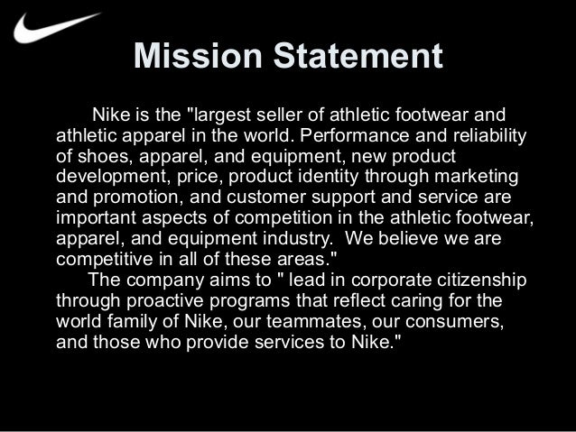 """adidas group vision and mission The nike mission statement is """"to bring inspiration and innovation to every athlete in the world""""."""