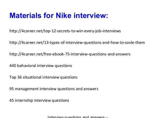 how to answer nike interview questions