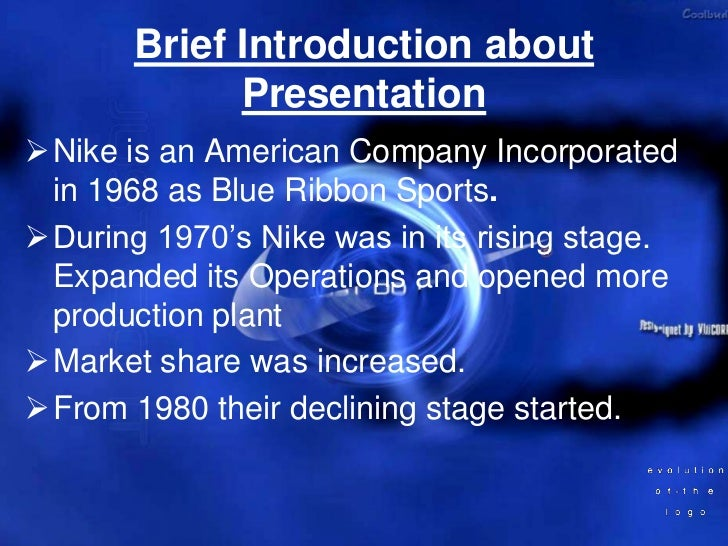 Nikes  presentation  Slide 2