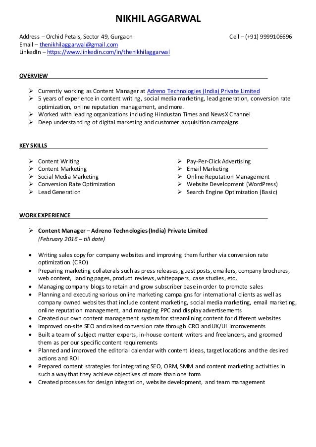 nikhil aggarwal resume