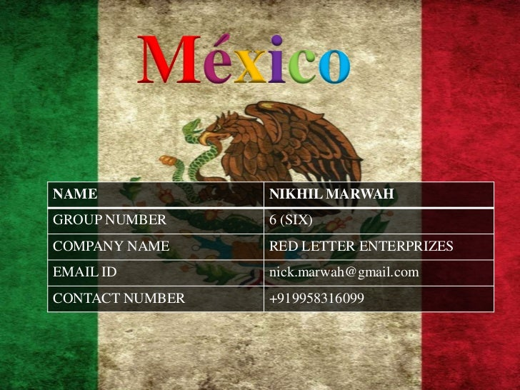 MéxicoNAME             NIKHIL MARWAHGROUP NUMBER     6 (SIX)COMPANY NAME     RED LETTER ENTERPRIZESEMAIL ID         nick.m...
