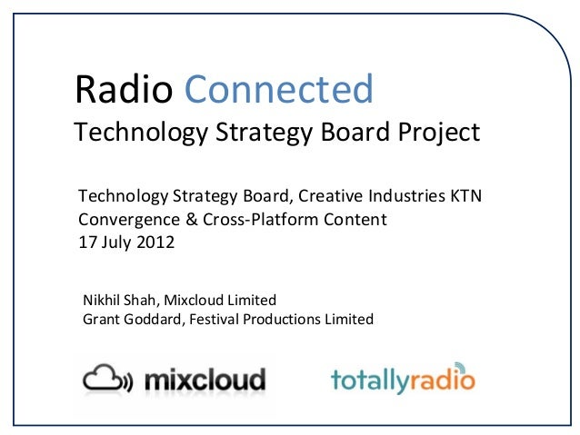 Technology Strategy Board, Creative Industries KTN Convergence & Cross‐Platform Content 17 July 2012 Radio Connected Techn...