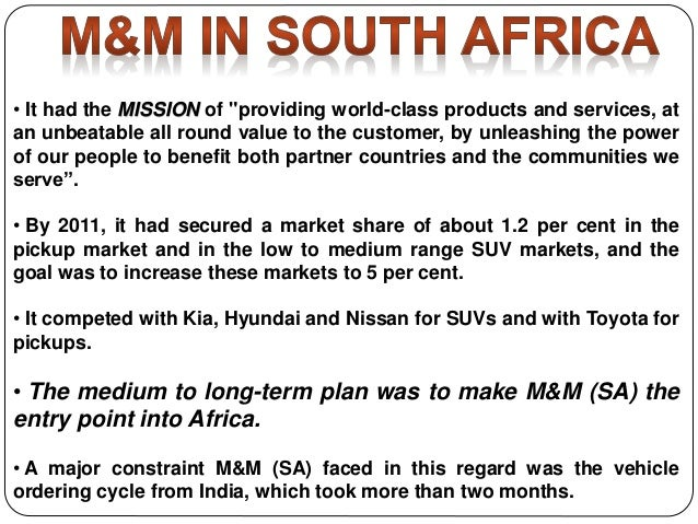 Mahindra & Mahindra in South Africa Case Solution and ...